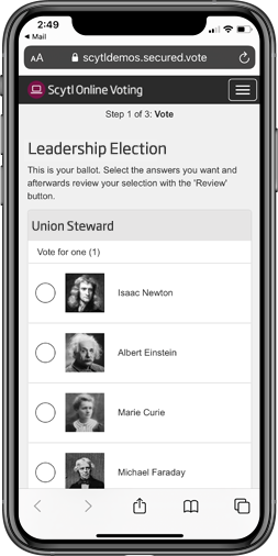 online voting for unions screenshot